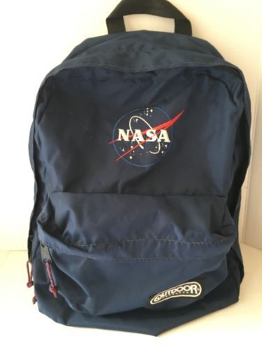 Vintage-Outdoor-Products-NASA-Applique-Navy-Blue-Backpack-Two-Pockets-Daypack