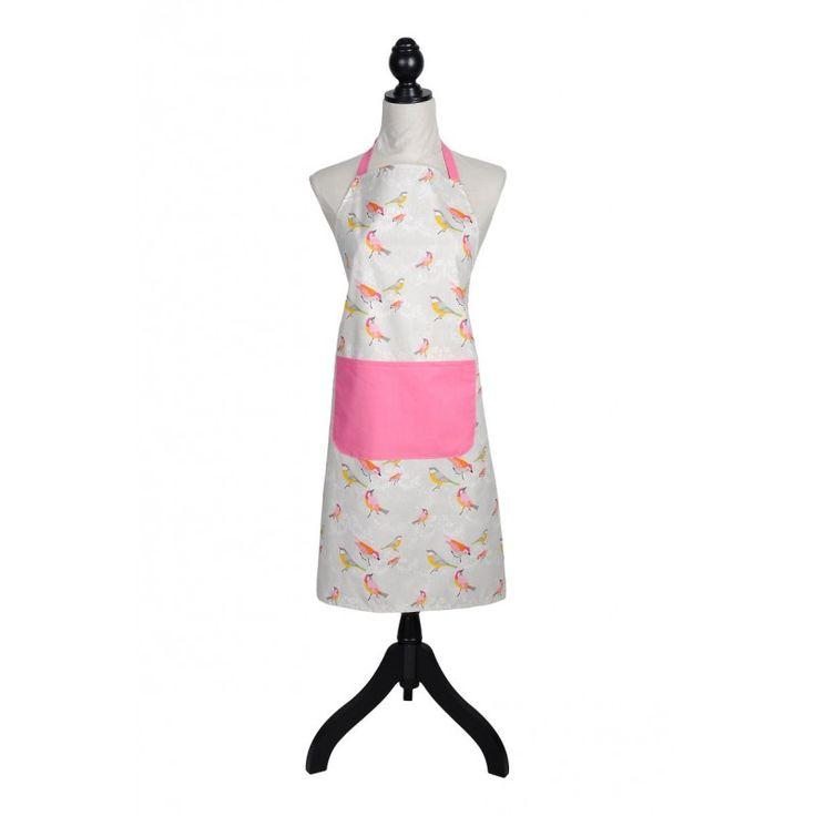 Sort de bucatarie gri deschis cu pasari colorate care va asigura protectia hainelor. Sort de bucatarie din bumbac prevazut cu buzunat lat.