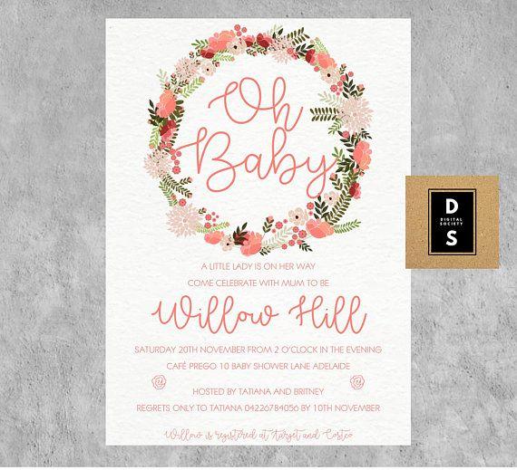 baby shower invitation girl girls pink floral printable