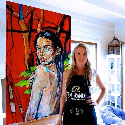 STUDIO/ Kaszuby/ process RED FOREST 130x160cm /triptych