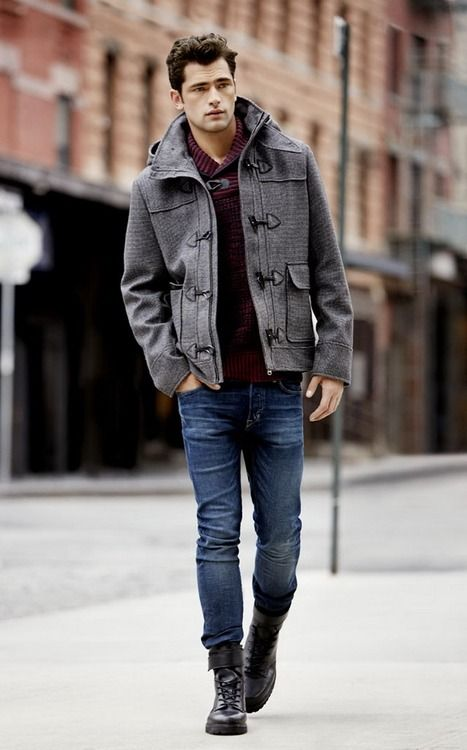 Mens Grey Pea Coat, Blue Jeans, Dark Brown Leather Boots ...repinned vom GentlemanClub viele tolle Pins rund um das Thema Menswear- schauen Sie auch mal im Blog vorbei www.thegentemanclub.de