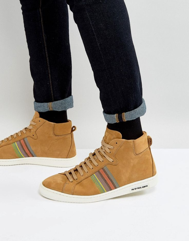 Get this Ps By Paul Smith's high sneakers now! Click for more details. Worldwide shipping. PS by Paul Smith Kim Nubuck High Top Trainers in Camel - Tan: Trainers by PS By Paul Smith, Nubuck leather upper, Lace-up fastening, High-top design, Embroidered stripes, Chunky sole, Embossed logo detail, Moulded tread, Wipe with a soft cloth, 100% Real Leather Upper. Designed in the UK, PS by Paul Smith bears all the hallmarks of Sir Paul Smith�s individual and quintessentially British style…
