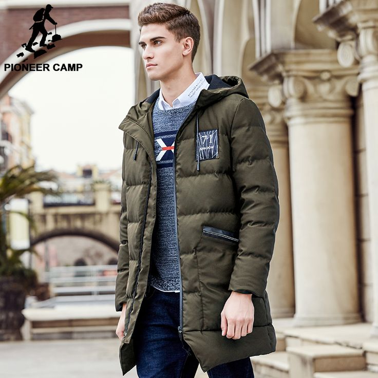 Pioneer Camp long thicken winter down jacket men brand clothing warm duck down coat male top quality men down parkas 625001