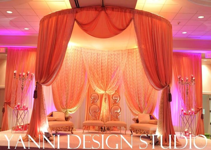 large gold indian wedding mandap with touches of lace in chicago
