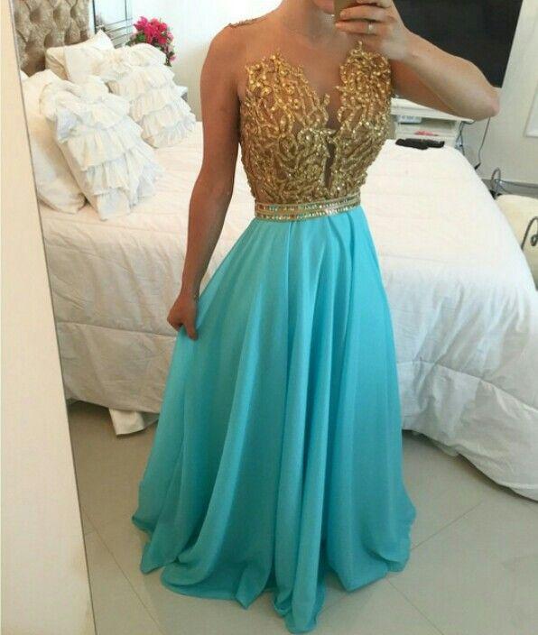 Vestido festa azul turquesa com dourado