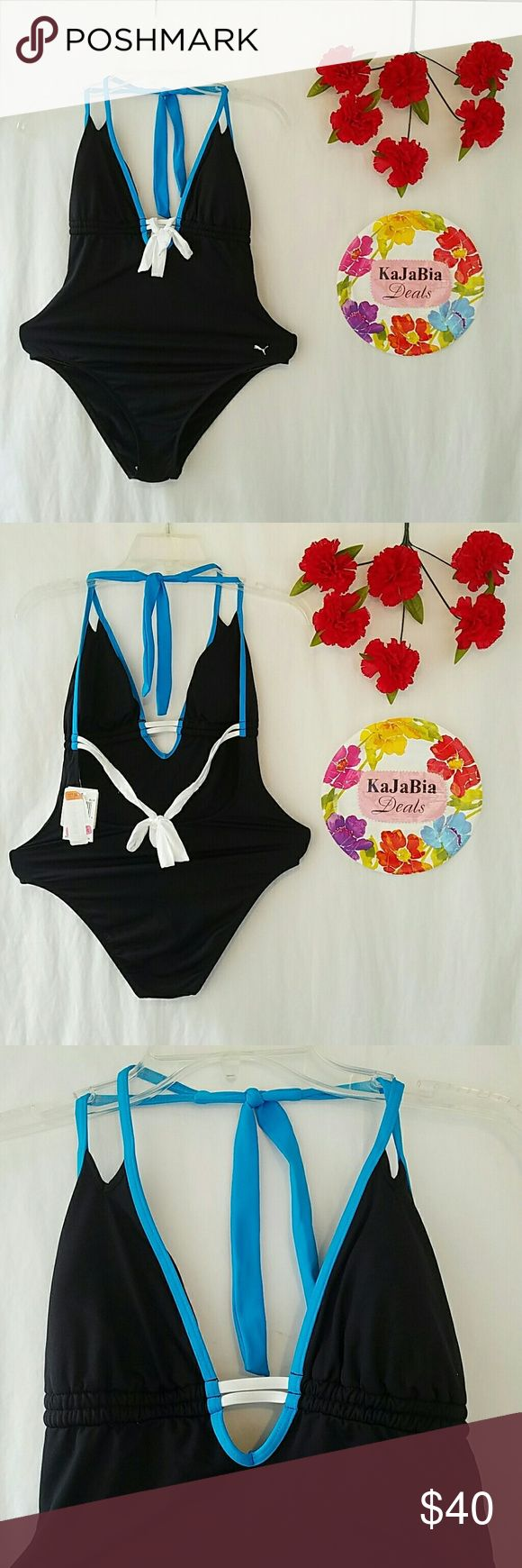 PUMA one piece Swimsuit NWT. Size M NWT. Never worn. Perfect condition. Made in Mexico with fabric made in USA. Shell 82% nylon 18% spandex. Lining 100% nylon. Very sexy U opening on chest. Padded insert on breast. Low back with straps to tie. Clasic color of puma clothing. Very small stains on strap hardly noticeable and probably washable !! Puma Swim One Pieces