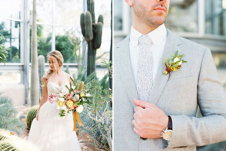 Southwestern Greenhouse Wedding Inspiration - Bouquet and boutonniere by Highland Avenue Events, @loftphoto, @gypsyfloral  @greenhouse850