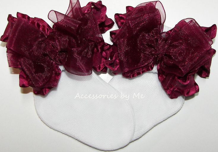 Frilly Bow Socks, Baby Girls Burgundy Wine Socks, Infant Toddler Accessories, Dress Up Pageant, Wedding Socks, 1st Birthday Party Occasions by AccessoriesbyMe on Etsy