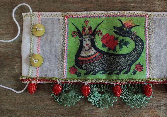 Sahmeran Cuff bracelet with silk fabric & needle by firuzangoker, $120.00