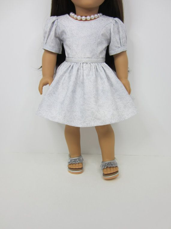 """18 """" doll clothes - Pretty white and silver sparkly  holiday dress by JazzyDollDuds."""