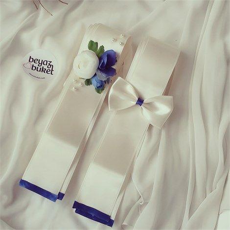 Mavi Beyaz Çiçekli Takı Kurdelesi | Beyaz Buket
