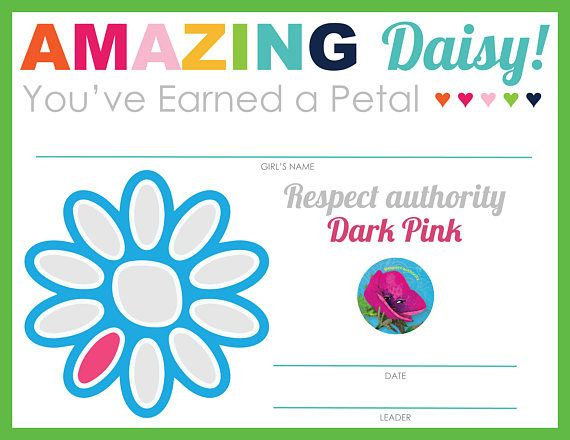 Complete Set of Girl Scout Daisy Petal & Leaf Certificates