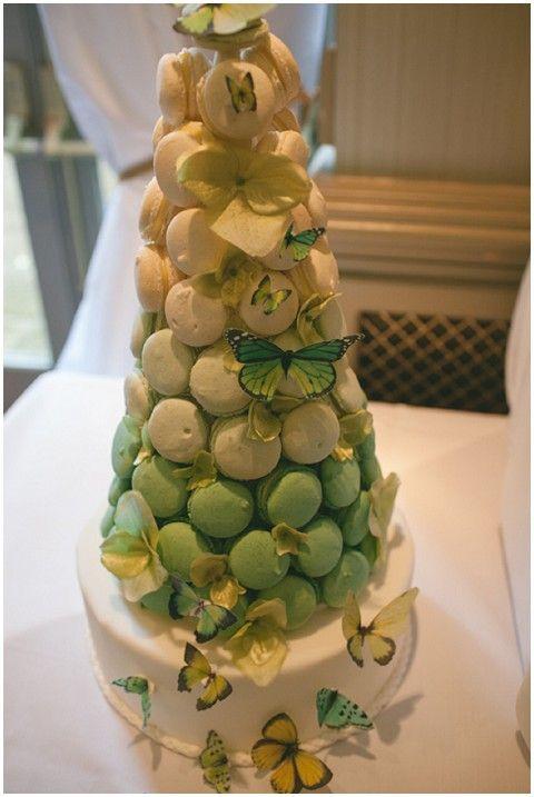 macaron cake with butterflies via www.frenchweddingstyle.com