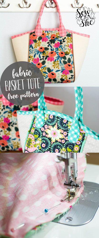 DIY Basket Tote {free sewing pattern} — SewCanShe   Free Daily Sewing Tutorials