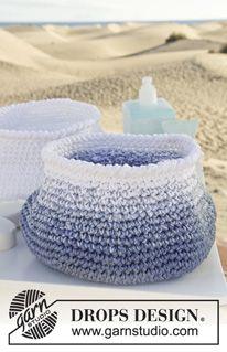 "Crochet DROPS basket in 3 threads ""Muskat"". ~ DROPS Design"