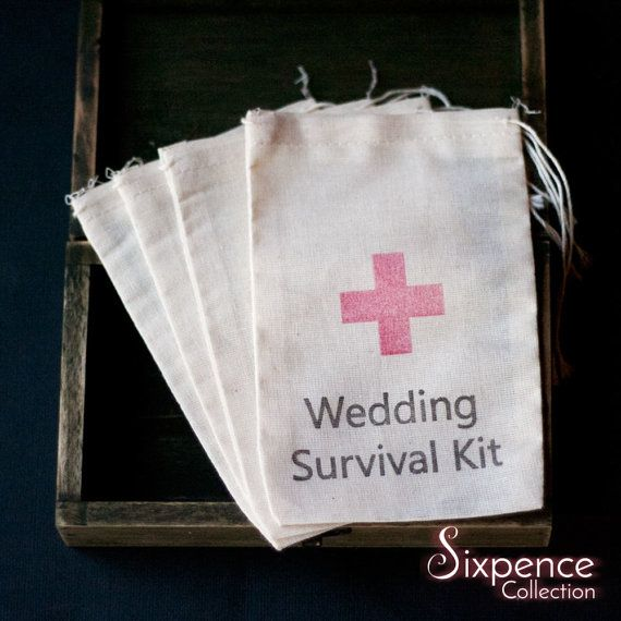 10 x Wedding Survival Kit Muslin Favour Bags