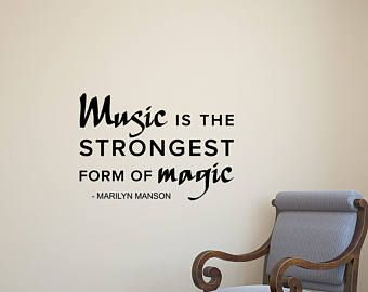 Music Is The Strongest Form Of Magic Marilyn Manson Wall Decal Quote Lettering Vinyl Sticker House Bedroom Decor Poster Art Mural Print 442