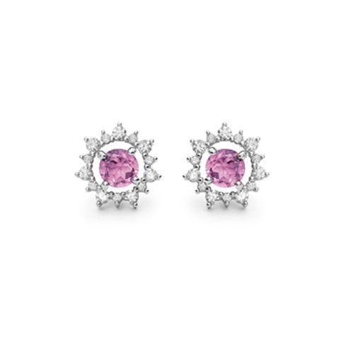 Brinco Ouro Branco Diamantes e Turmalina Rosa Olympia