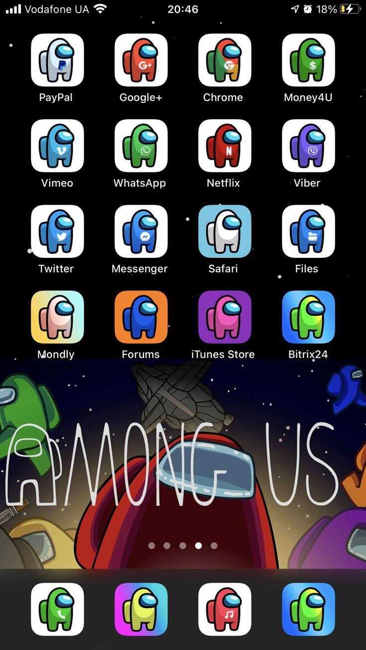 Among us ios 14 app icons ios14 among us aesthetic home