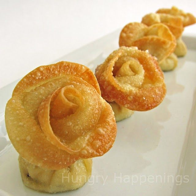 Fried won ton roses with artichoke cream cheese.