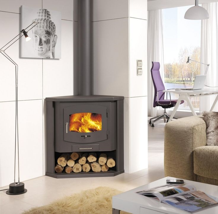 Painting of Corner Wood Burning Stove: Functional and Interior Beautifier