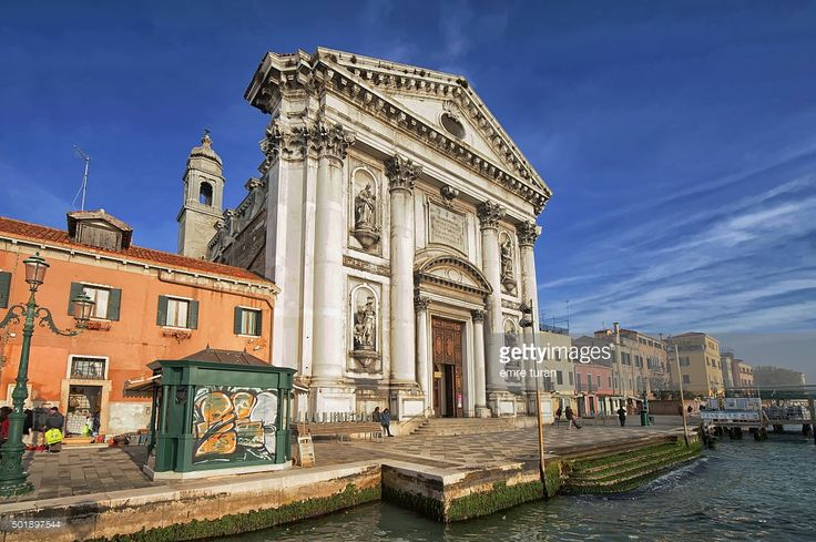 wide angle view of san maria del rosario church in dorsoduro quarter in venice on a sunny december afternoon