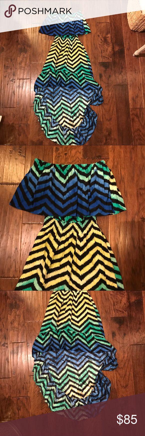 Parker High Low Strapless Maxi Dress Worn twice, 100% silk, high low chevron Maxi dress Parker Dresses High Low