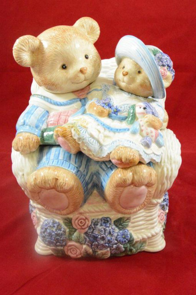 Cookie Jar Fitz And Floyd Teddy Bear With Baby Cookie