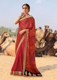 Casual Wear Georgette Red Printed Saree