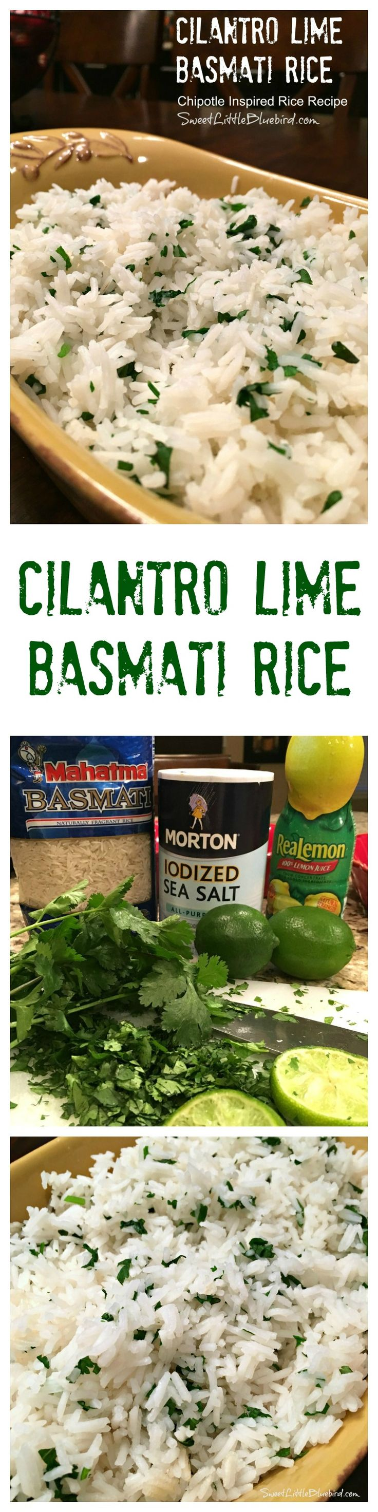 CILANTRO LIME BASMATI RICE {Inspired by Chipotle} - If you're a fan of Chipotle's rice, then you'll love this simple recipe that can be made on the stove or in a rice cooker. So GOOD!! |  SweetLittleBluebird.com