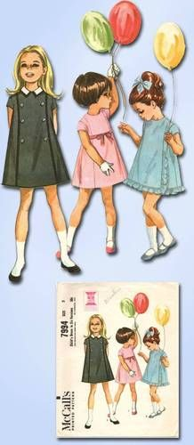 1950s Toddler's A Line Dress Pattern 6 Views Cute McCall Vintage Pattern Size 5 | eBay