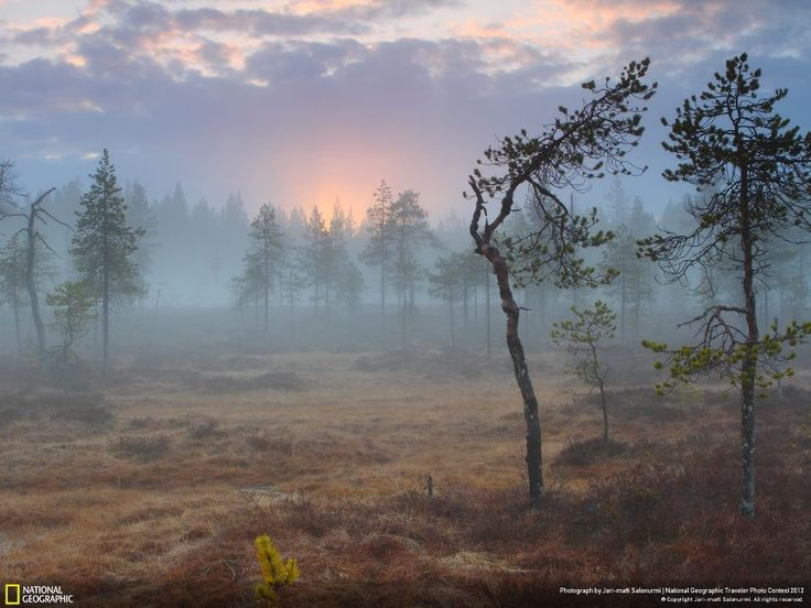 Midnight sun shines through the haze in northern Finland during a magic moment from the National Geographic Traveler photo contest.