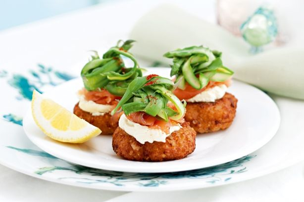 Quinoa cakes with smoked salmon, shaved asparagus and creme fraiche