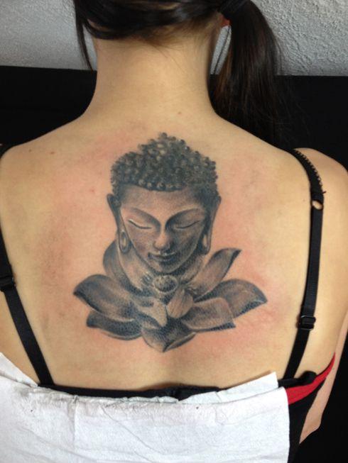 Grey Ink Buddha & Lotus Tattoo On Upper Back