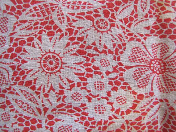 Red Floral Flour Sack Fabric