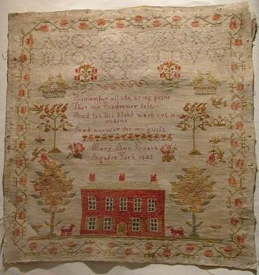 EARLY 19TH CENTURY LINEN & WOOL RED HOUSE SAMPLER BY MARY EZART 1843 ~♥~