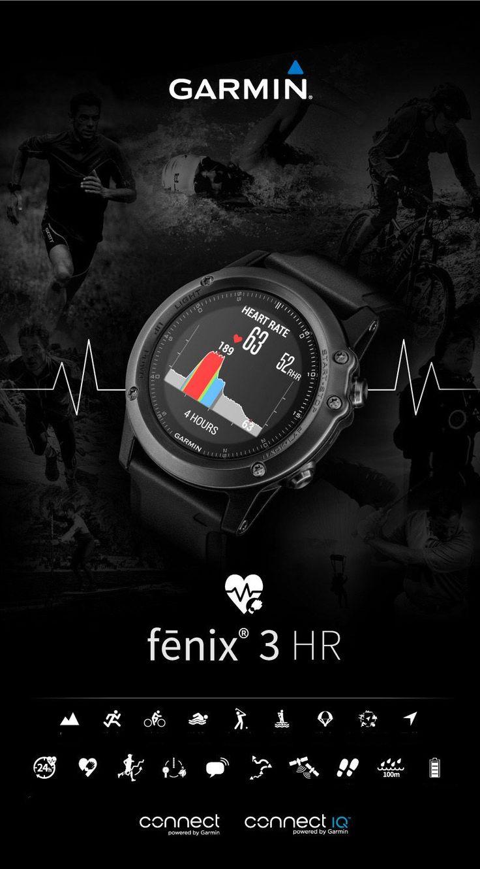 Garmin Fenix3HR Sapphire GPS+GLONASS Watch Outdoor Multi-Sports Wristwatch 100M Waterproof Smart Wifi Connect Photoelectricity Heart Rate Sensor Fitness Training For Running Climbing Swim Golf