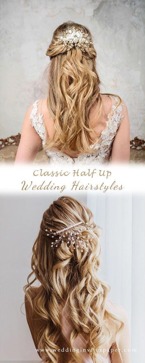 46 Unforgettable Wedding Hairstyles for Long Hair 2019—elegant half up half down wedding hairstyle with chic headpieces, natural curls, vintage wedd
