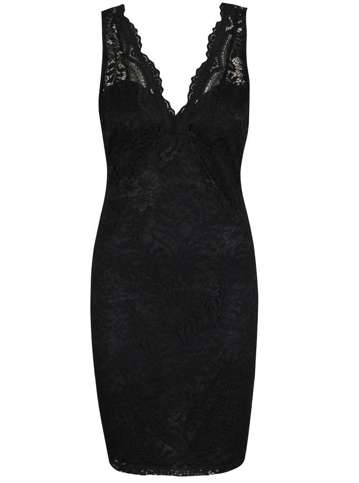 Černé krajkované šaty na ramínka ONLY Dove