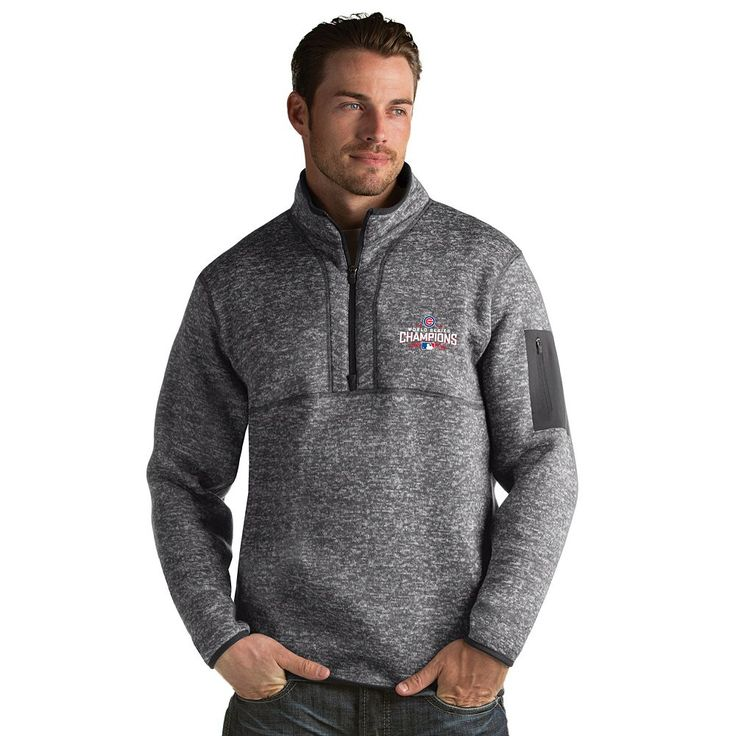 Men's Antigua Chicago Cubs 2016 World Series Champions Fortune Pullover, Size: Medium, Grey (Charcoal)