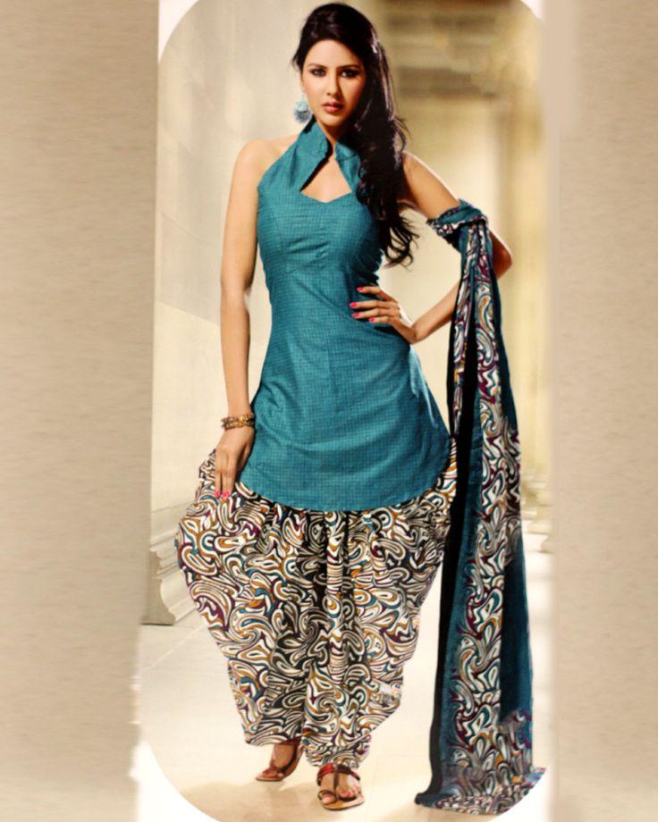 Teal Printed Cotton Patiyala Dress