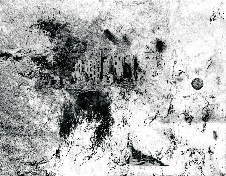 Jurgita Gerlikaite. A City in a Desert. 2004. Photopolymer gravure, collage.