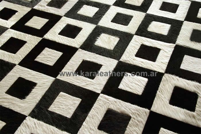 BLACK AND WHITE SQUARE COWHIDES PATCHWORK RUGS