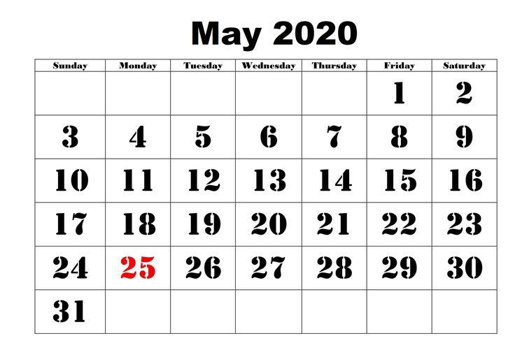 Do Some Physical Activity Printable Calendar 2020 May 2020