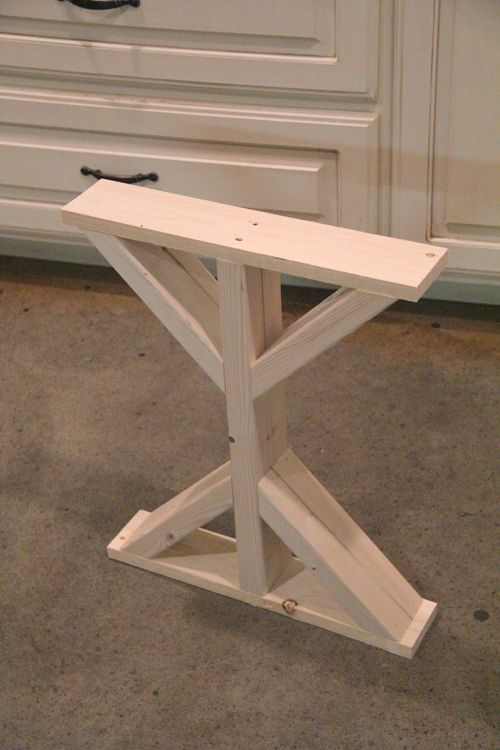 Best 25 table legs ideas on pinterest for Farmhouse table plans with x legs