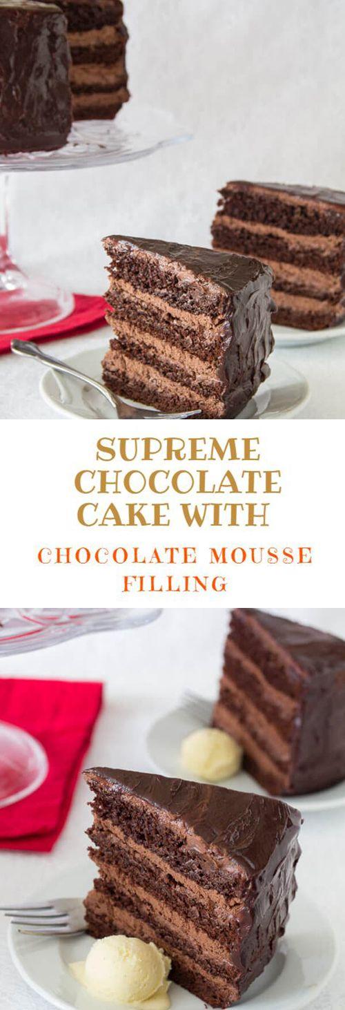 Wie man einen Schokoladenkuchen mit Schokoladenmoussefüllung zubereitet | Mama kochen …