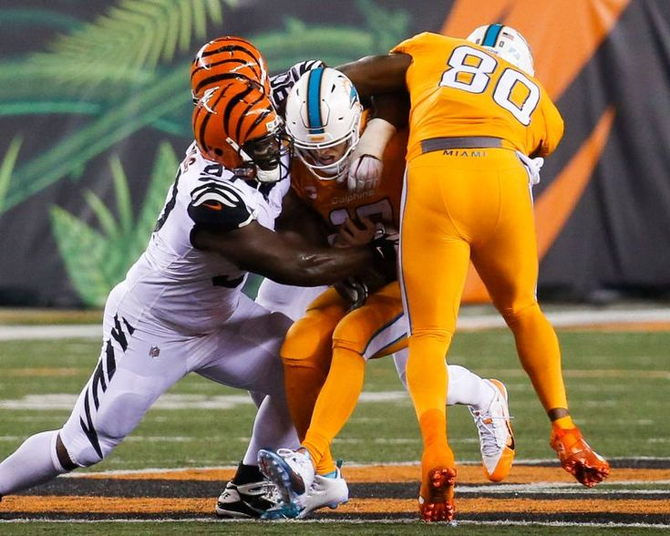 Miami Dolphins quarterback Ryan Tannehill, center, is sacked by Cincinnati Bengals defensive tackle Geno Atkins (97) during the second half of an NFL football game, Thursday, Sept. 29, 2016, in Cincinnati.
