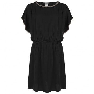 Mooi zwart jurkje met zilveren accenten. Valt mooi los.