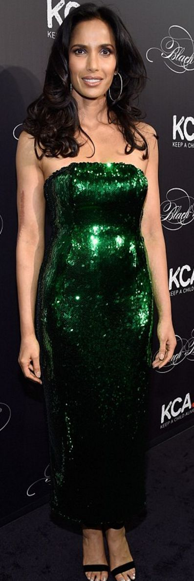 Who made Padma Lakshmi's green sequin strapless dress?