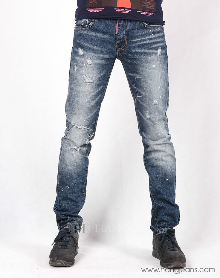 Hằng Jeans - Quần jeans nam rách vẩy sơn 15E3087